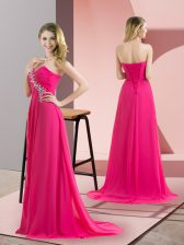 Chiffon Sleeveless Floor Length Prom Party Dress and Beading