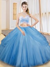 Low Price Floor Length Criss Cross Sweet 16 Quinceanera Dress Baby Blue for Military Ball and Sweet 16 and Quinceanera with Beading and Ruching and Pick Ups