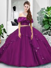 Top Selling Floor Length Two Pieces Sleeveless Eggplant Purple Quinceanera Dress Lace Up