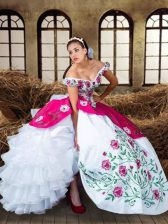 Beautiful Off The Shoulder Sleeveless Sweet 16 Dress Floor Length Embroidery and Ruffled Layers Multi-color Chiffon