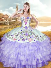 Ideal Sweetheart Sleeveless Organza and Taffeta Vestidos de Quinceanera Embroidery and Ruffled Layers Lace Up