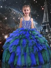 Cute Blue Sleeveless Tulle Lace Up Little Girls Pageant Gowns for Quinceanera and Wedding Party