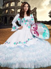 Deluxe Aqua Blue Organza Lace Up Square Long Sleeves Floor Length 15th Birthday Dress Embroidery and Ruffled Layers