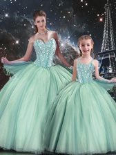 Delicate Turquoise Lace Up Quinceanera Dress Beading Sleeveless Floor Length