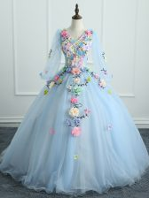 Light Blue Ball Gowns Appliques and Hand Made Flower Sweet 16 Dress Lace Up Tulle Long Sleeves Floor Length