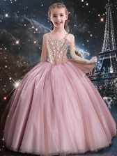 Attractive Beading Flower Girl Dress Baby Pink Lace Up Sleeveless Floor Length