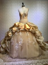 Attractive Gold Quinceanera Gowns Sweetheart Sleeveless Court Train Lace Up