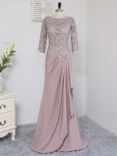 Glittering Beading and Lace and Appliques Homecoming Dress Pink Zipper Half Sleeves Brush Train