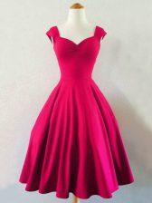 Graceful A-line Vestidos de Damas Hot Pink Straps Taffeta Sleeveless Knee Length Lace Up