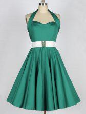 Beauteous Dark Green Taffeta Lace Up Halter Top Sleeveless Knee Length Quinceanera Court Dresses Belt