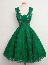 Gorgeous Green Sleeveless Lace Zipper Dama Dress for Quinceanera for Prom and Party and Wedding Party