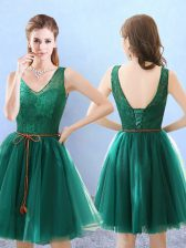 Green V-neck Backless Lace Dama Dress Sleeveless