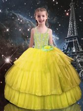 Latest Light Yellow Lace Up Girls Pageant Dresses Beading and Ruffled Layers Sleeveless Floor Length