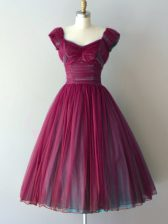 Burgundy Cap Sleeves Knee Length Ruching Lace Up Quinceanera Court of Honor Dress