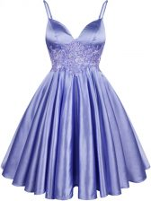 Knee Length Lace Up Vestidos de Damas Light Blue for Prom and Party and Wedding Party with Lace