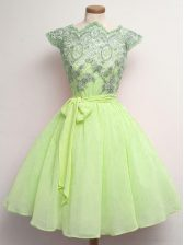 Cap Sleeves Lace and Belt Lace Up Quinceanera Court of Honor Dress