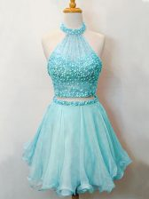 Halter Top Sleeveless Organza Quinceanera Dama Dress Beading Lace Up