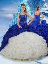 Blue And White Lace Up Quinceanera Dress Ruffled Layers and Pick Ups Sleeveless Brush Train