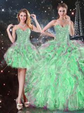 Trendy Apple Green Ball Gowns Organza Sweetheart Sleeveless Beading and Ruffles Floor Length Lace Up Quinceanera Dress