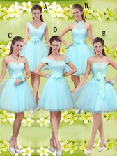 Aqua Blue Tulle Lace Up Sweetheart Sleeveless Knee Length Quinceanera Dama Dress Lace and Belt