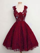 Hot Selling Wine Red Straps Lace Up Lace Damas Dress Sleeveless