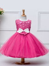 Nice Hot Pink Ball Gowns Lace and Bowknot Child Pageant Dress Zipper Tulle Sleeveless Knee Length