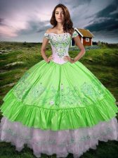 On Sale Sleeveless Taffeta Floor Length Lace Up Quinceanera Dresses in with Beading and Embroidery and Ruffled Layers