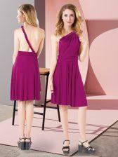 Admirable Fuchsia One Shoulder Neckline Ruching Court Dresses for Sweet 16 Sleeveless Criss Cross