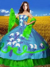 Sleeveless Embroidery Lace Up 15 Quinceanera Dress