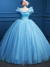 Baby Blue 15 Quinceanera Dress Military Ball and Sweet 16 and Quinceanera with Appliques Off The Shoulder Sleeveless Zipper