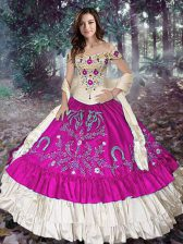Floor Length Fuchsia Vestidos de Quinceanera Off The Shoulder Sleeveless Lace Up