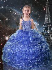 Custom Designed Blue Little Girl Pageant Gowns Quinceanera and Wedding Party with Beading and Ruffles Straps Sleeveless Lace Up