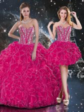 Classical Sleeveless Floor Length Beading and Ruffles Lace Up Quince Ball Gowns with Hot Pink