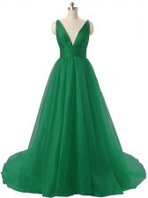 Fine Dark Green Sleeveless Organza Brush Train Backless Prom Party Dress for Prom and Party and Military Ball