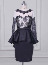 Scoop Long Sleeves Prom Dresses Mini Length Lace and Appliques Black Satin