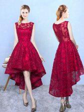 Eye-catching Burgundy A-line Lace Dama Dress Zipper Lace Sleeveless High Low