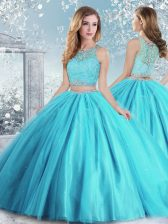 Flirting Tulle Scoop Sleeveless Clasp Handle Beading and Sequins Quinceanera Dress in Aqua Blue