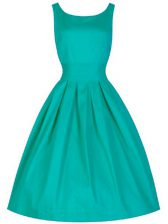 Pretty Knee Length Turquoise Quinceanera Dama Dress Taffeta Sleeveless Ruching