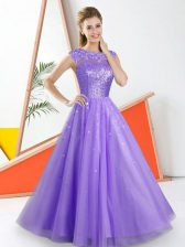 Beautiful Lavender A-line Bateau Sleeveless Tulle Floor Length Backless Beading and Lace Dama Dress for Quinceanera
