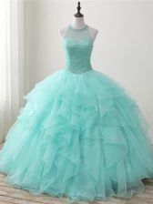 Fabulous Apple Green Sleeveless Floor Length Beading and Ruffles Lace Up Quinceanera Gowns