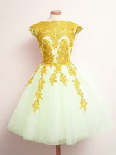 Mini Length Multi-color Court Dresses for Sweet 16 Tulle Sleeveless Appliques