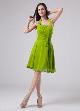 Best Selling Green Chiffon Zipper Halter Top Sleeveless Knee Length Dress for Prom Ruching