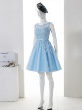 Graceful Baby Blue Scoop Neckline Lace Quinceanera Court Dresses Sleeveless Zipper