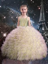 Stylish Organza Straps Sleeveless Lace Up Beading and Ruffles Little Girl Pageant Dress in Light Yellow