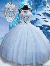 Classical Light Blue Scoop Lace Up Beading Vestidos de Quinceanera Sleeveless