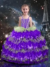 Sleeveless Lace Up Floor Length Beading and Ruffled Layers Little Girls Pageant Dress Wholesale