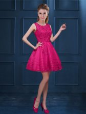 Hot Pink A-line Lace and Ruffled Layers Damas Dress Zipper Tulle Sleeveless Knee Length