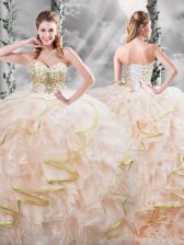 Fantastic Sleeveless Brush Train Beading and Ruffles Lace Up Quinceanera Dresses