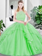 Luxurious Tulle Zipper Sweet 16 Dress Sleeveless Floor Length Lace and Ruffled Layers
