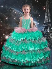 Turquoise Organza Lace Up Straps Sleeveless Floor Length Kids Pageant Dress Beading and Ruffled Layers